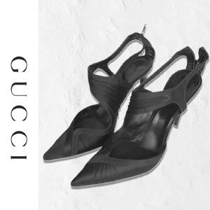 Gorgeous Authentic Gucci Satin Ankle Strap Heels